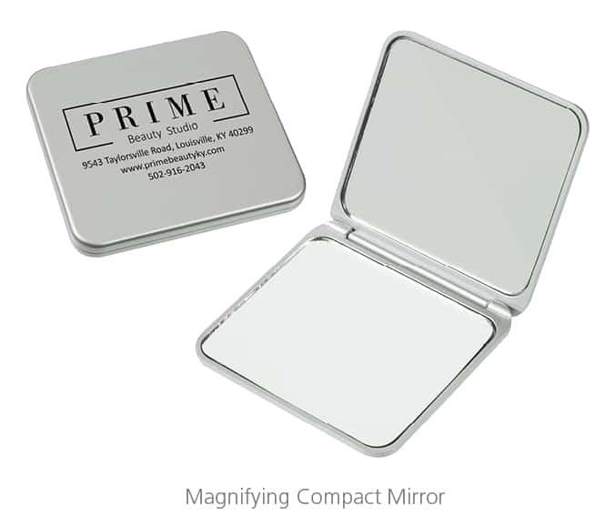 Magnifying Compact Mirror - branded swag to help with brand recognition