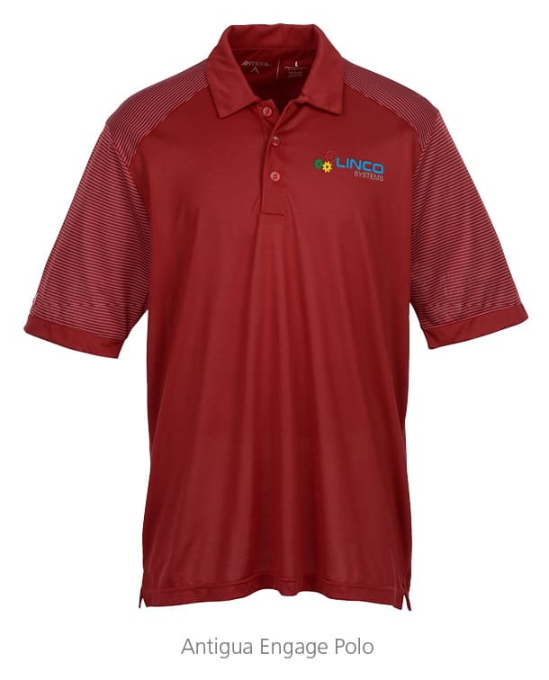 Antigua Engage Polos are great branded promotional products to help companies with brand recognition