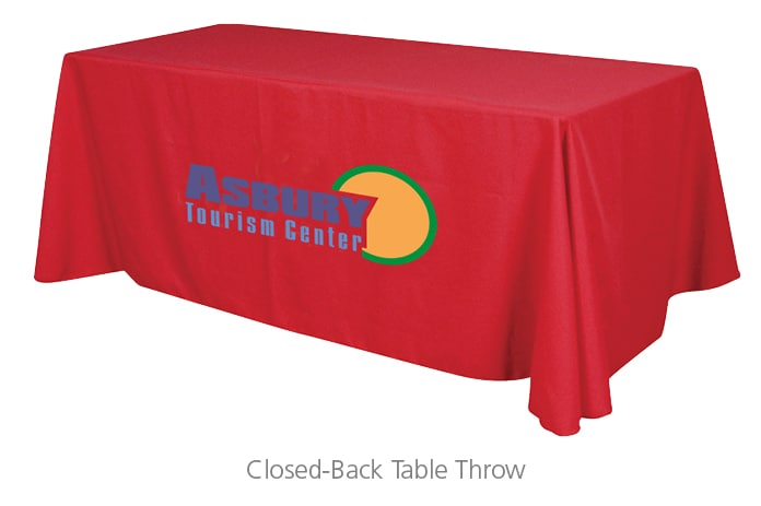 Closed-back Table Throws are great branded promotional products to help companies with brand recognition
