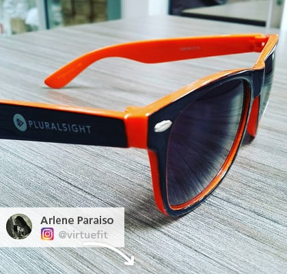Instagram picture of imprinted sunglasses - Outdoor promotional items that block the sun
