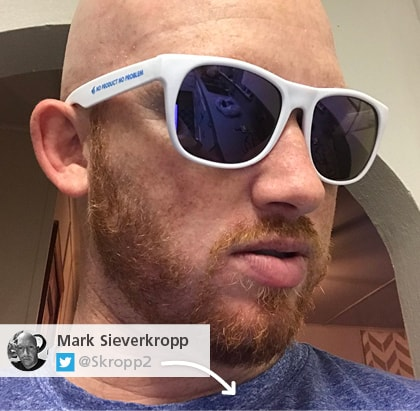 Twitter picture of imprinted sunglasses - Outdoor promotional items that block the sun