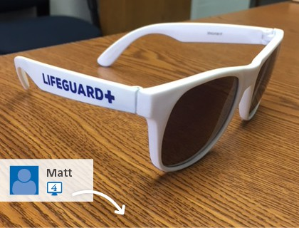 4imprint #SwaggingRights picture of imprinted sunglasses - Outdoor promotional items that block the sun