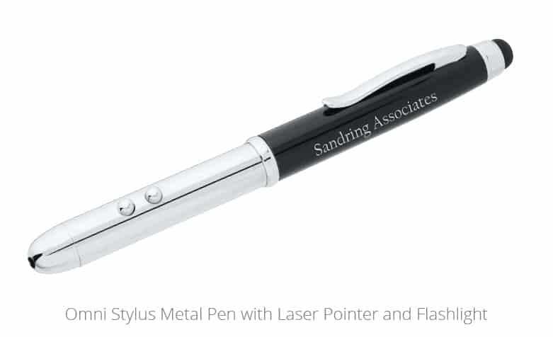The Omni Stylus Metal Pen with Laster Pointer and Flashlight is an excellent university promotional product.