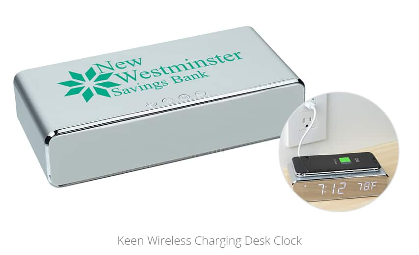 Keen Wireless Charging Desk Clock | innovative promotional giveaways from 4imprint
