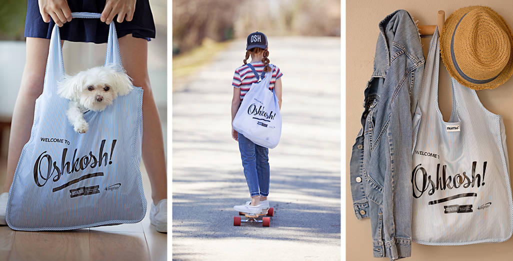 Left: Dog in a bag. Center: Girl riding a skateboard with bag. Right: Bag hanging with a jacket.