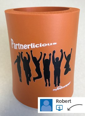 A social media post showing a branded can cooler.