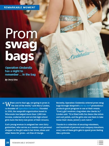 Remarkable Moment story image - Prom swag bags - Operation Cinderella has a night to remember in the bag