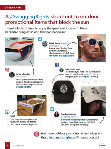 Overheard Image: A #SwaggingRights shout-out to outdoor promotional items that block the sun - imprinted sunglasses and branded headwear