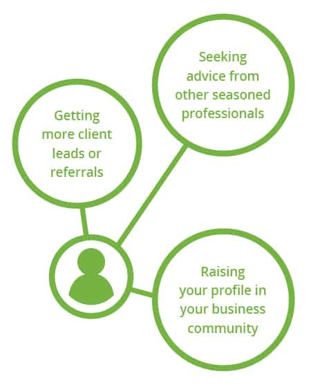 Getting client leads. Seeking advice from professionals. Raising your profile in the community.