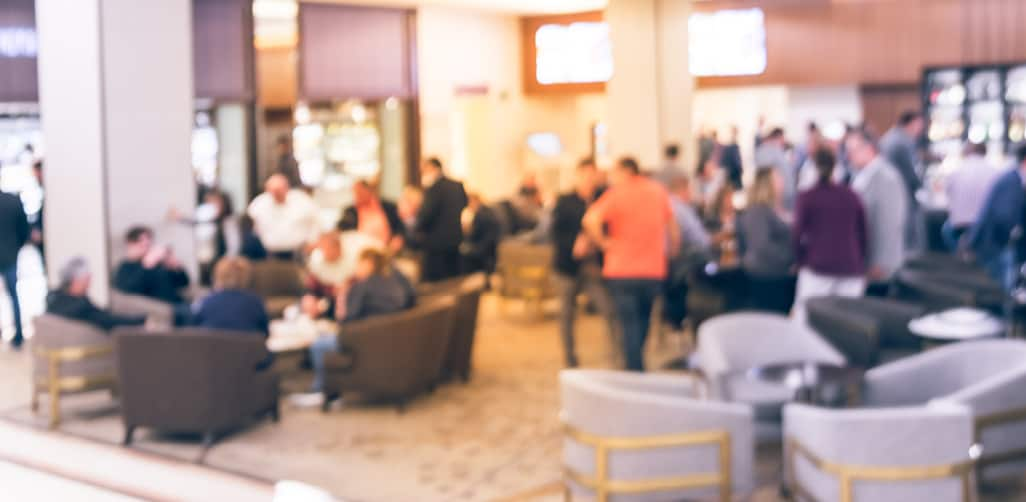 Several people at a networking event.
