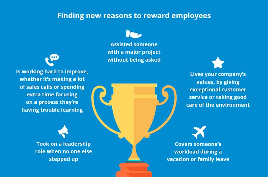 A graphic showing new reasons to reward employees.