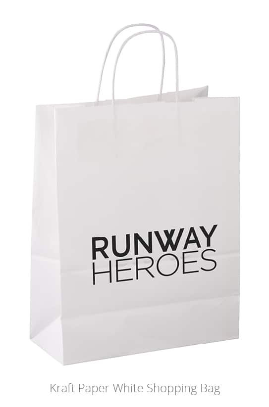 nonprofit giveaways: Runway Heroes Kraft Paper White Shopping Bag