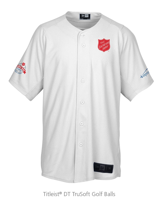 New Era Button Down Jersey: nonprofit promotional items used at Home Run Derby Kettle Kick Off event