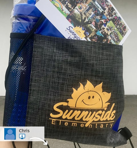 Social media picture of a promotional bag from Sunnyside Elementary School