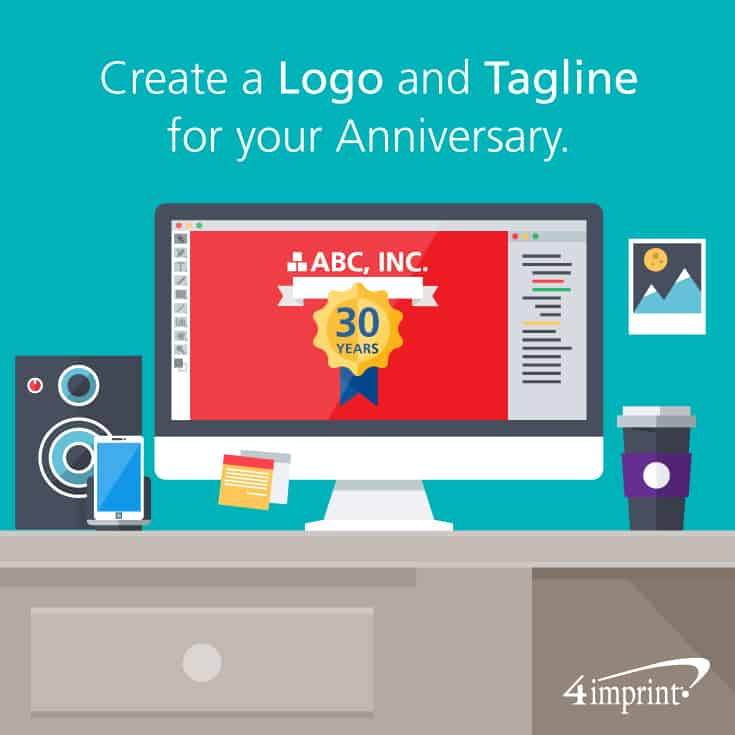 Create a Logo and Tagline for your Company Anniversary. Add your specialty logo to company anniversary gifts to use in celebration of your milestone.