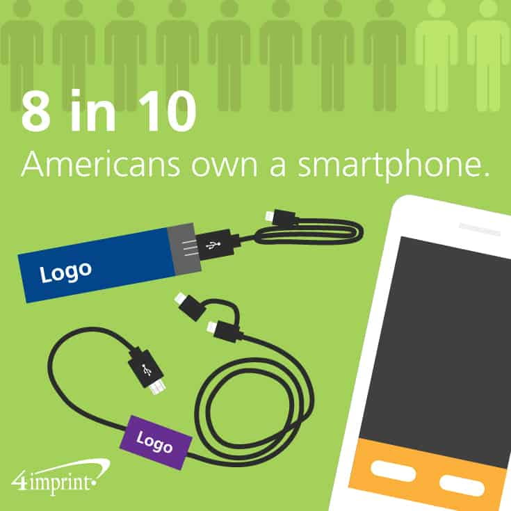 8 in 10 Americans own a smartphone. Conference gift bag ideas from 4imprint promotional products.