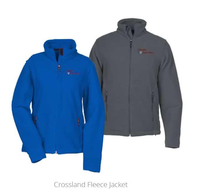 Blue womens crossland fleece jacket and gray mens crossland fleece jacket
