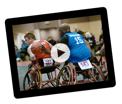 tablet showing a video of the National Wheelchair Games