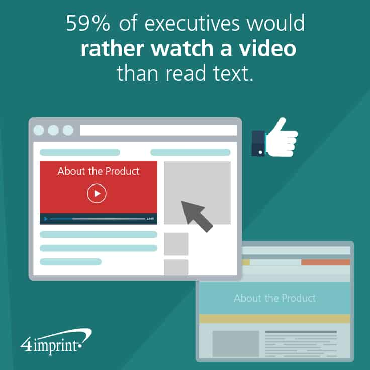 59% of executives prefer to watch a video rather than read text. Find ways to include training giveaways as part of your video experience.