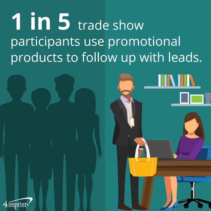 1 in 5 trade show participants use promotional products to follow up with leads. | Stay connected with these follow-up trade show swag ideas.