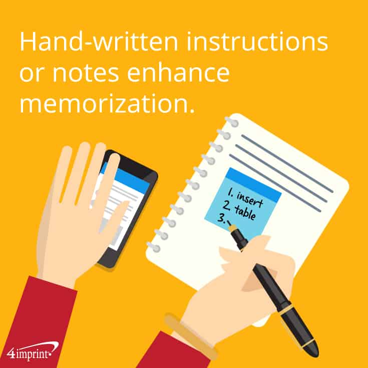 Hand-written instructions or notes enhance memorization. That's a great use for Promotional Post-It Notes.