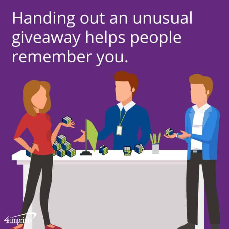 Handing out an unusual giveaway helps people remember you. | Trade show booth game ideas from 4imprint.