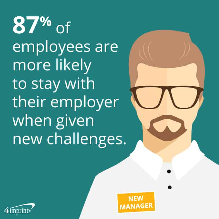 87% of employees are more likely to stay with their employer when given new challenges. 4imprint creative promotional products.