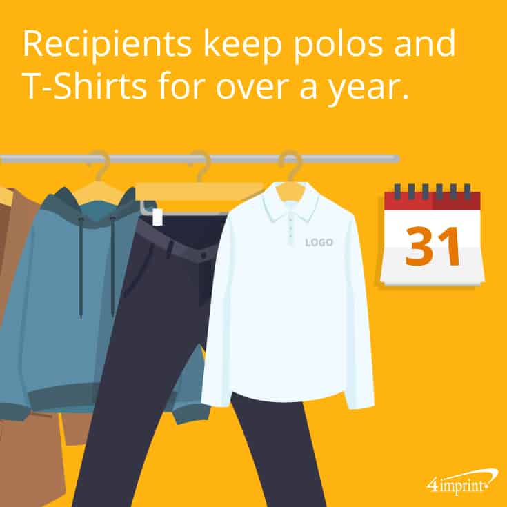 Recipients keep polos and T-shirts for over a year | 4imprint autumn apparel giveaways