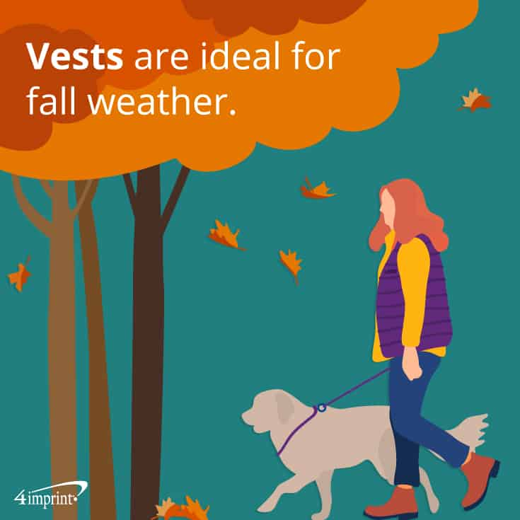 Vests are ideal for fall weather | Autumn apparel giveaways from 4imprint
