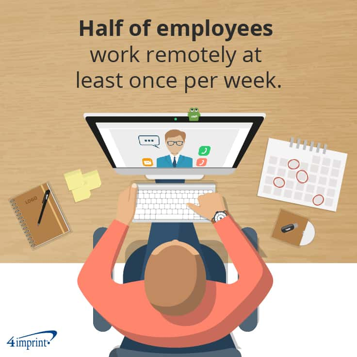 Half of employees work remotely at least once per week. | Grab attention with trending giveaways.
