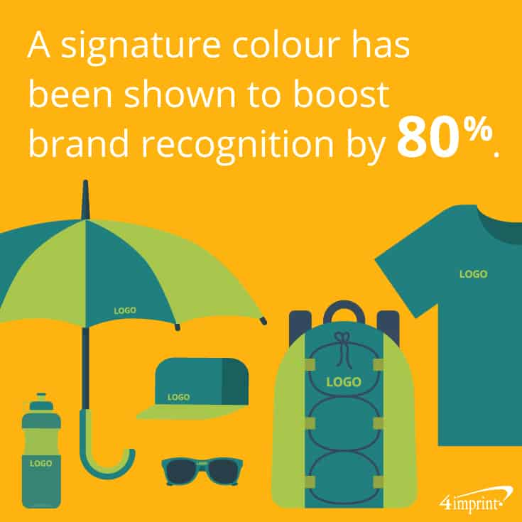 A signature colour has been shown to boost brand recognition by 80 percent. See how important swag colours are when picking branded promotional products.