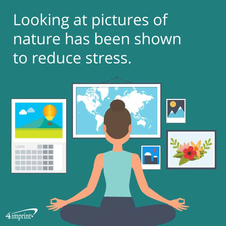 Looking at pictures of nature has been shown to reduce stress. These promotional calendars can help your customers feel calm.