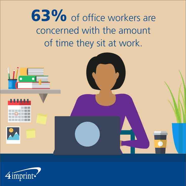 63% of office workers are concerned with the amount of time they sit at work.