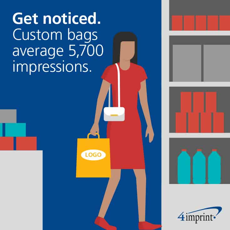 Get noticed. Custom bags average 5,700 impressions.