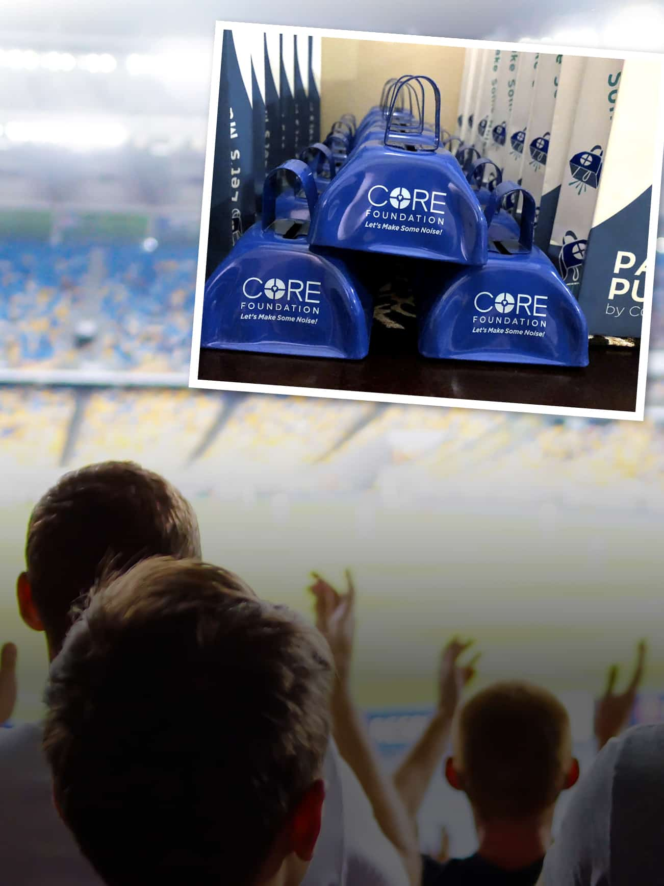 Promotional cowbells stacked in a photograph that is overlaying atop of a crowd at a sporting event