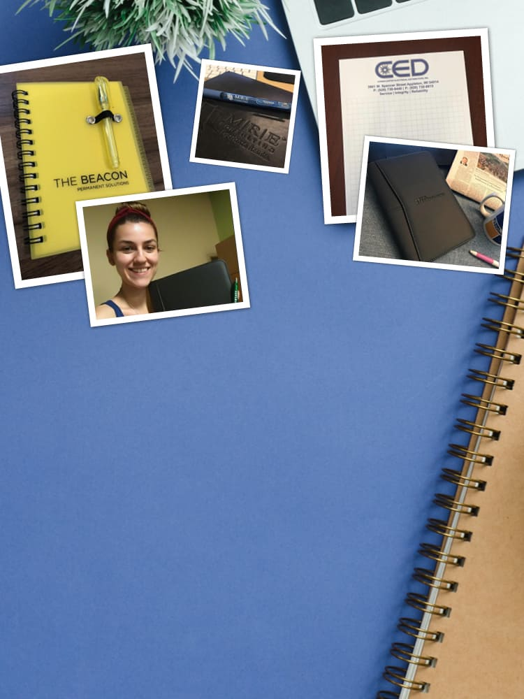 A college of social media post showing promotional notebooks and branded padfolios