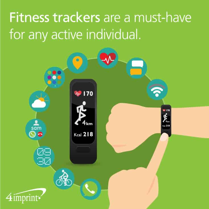 Fitness trackers are a must-have for any active individual. Ideas for tech giveaways from 4imprint promotional products.
