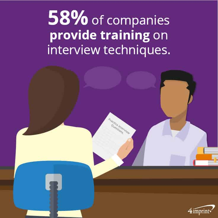 58% of companies provide training on interview techniques. Plus, see how to use employee recruitment giveaways.