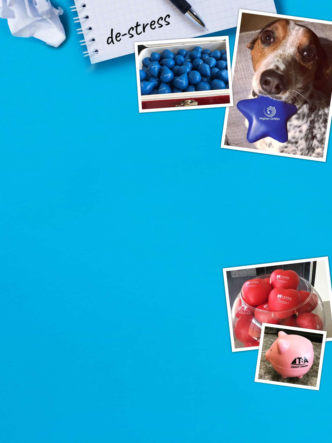 a compilation of customer submitted photos of Promotional stress balls squashing away tension