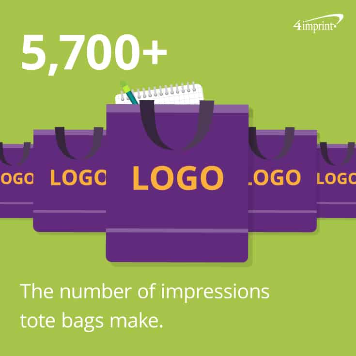 Tote bags make more impressions than any other promotional item.