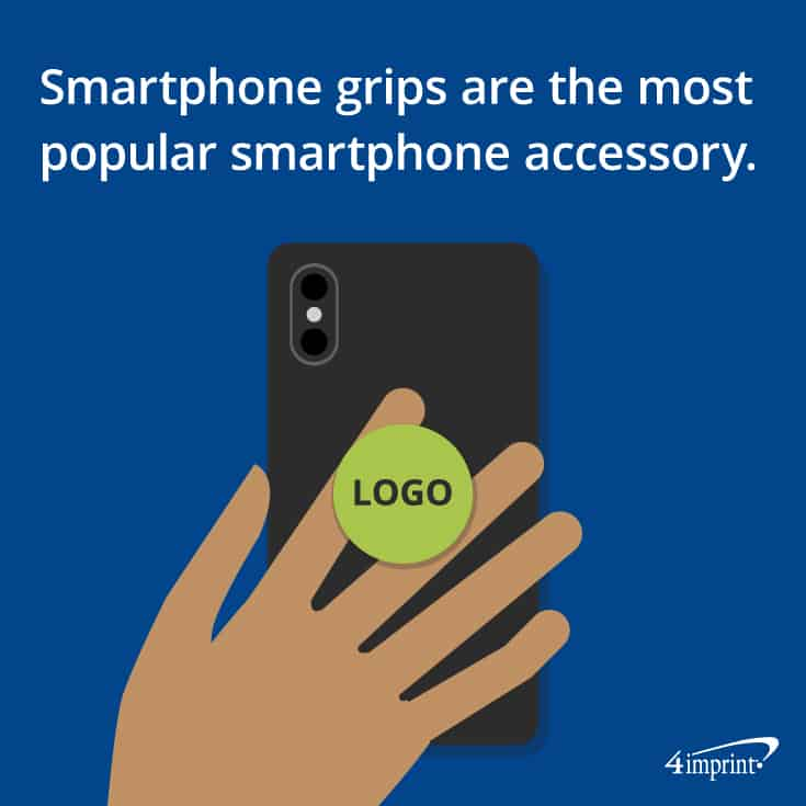Phone grips are the most popular phone promotional products.