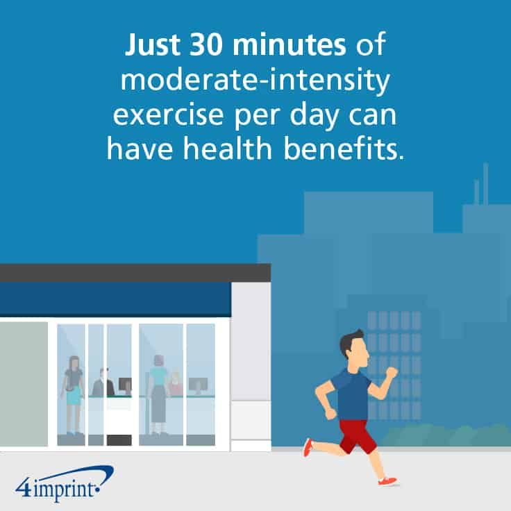 Just 30 minutes of moderate-intensity exercise per day can have health benefits.