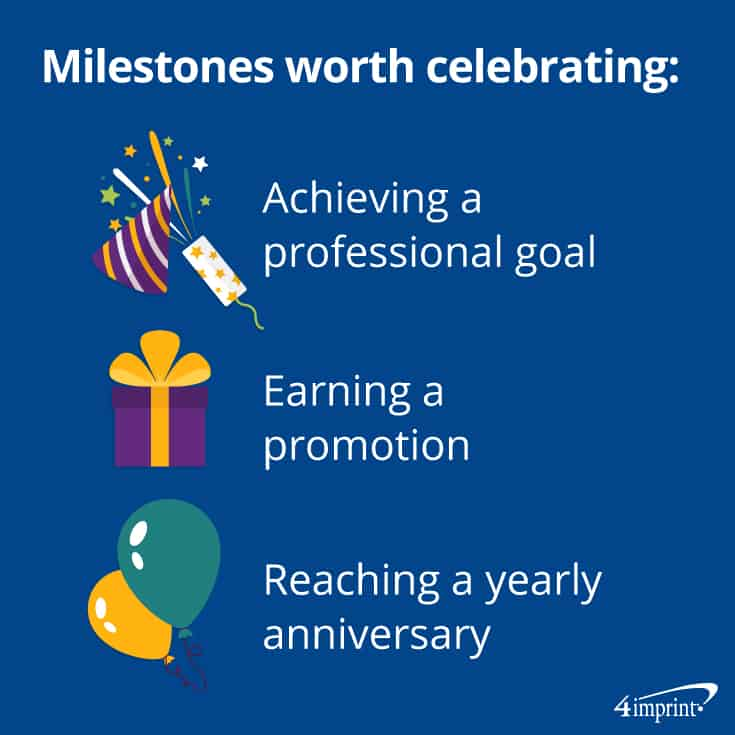 Milestones to celebrate: Achieving a career goal, earning a promotion, reaching an anniversary.