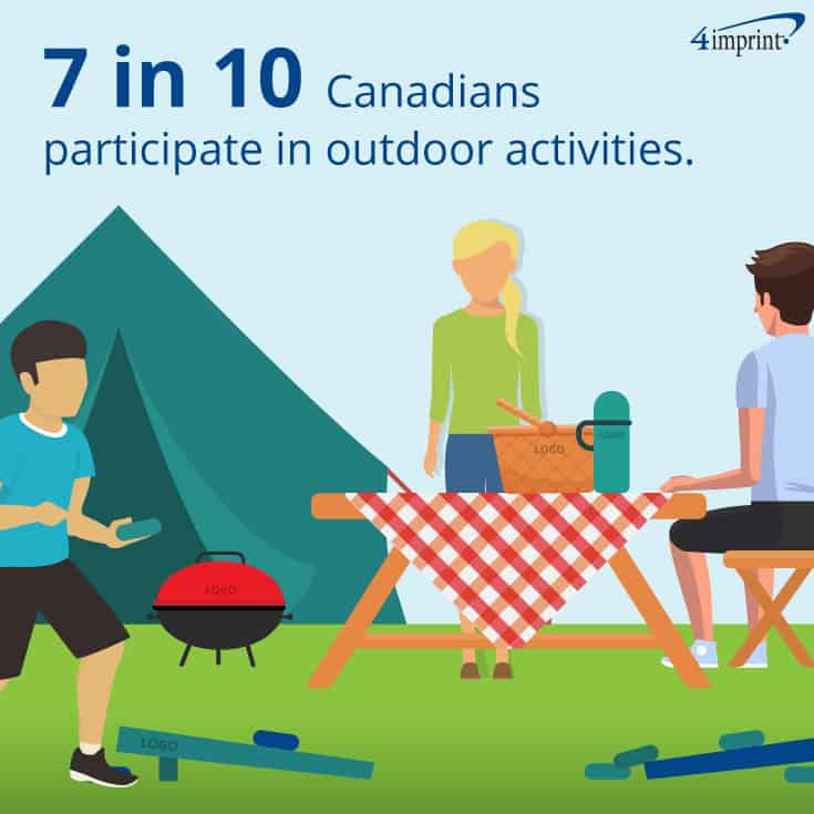 7 in 10 Canadians participate in outdoor activities. | Fun promotional products for summer events.