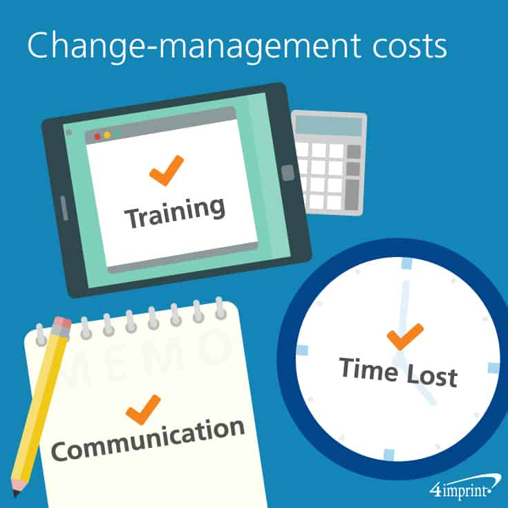 Change-management costs include – training, communications and time lost