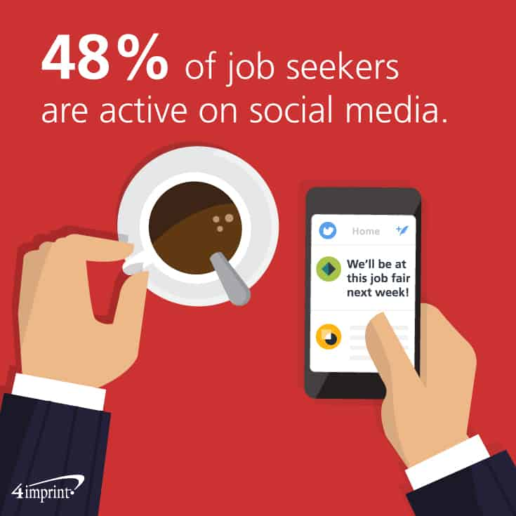 48% of job seekers are active on social media. Check out these career fair giveaways and career fair booth games.