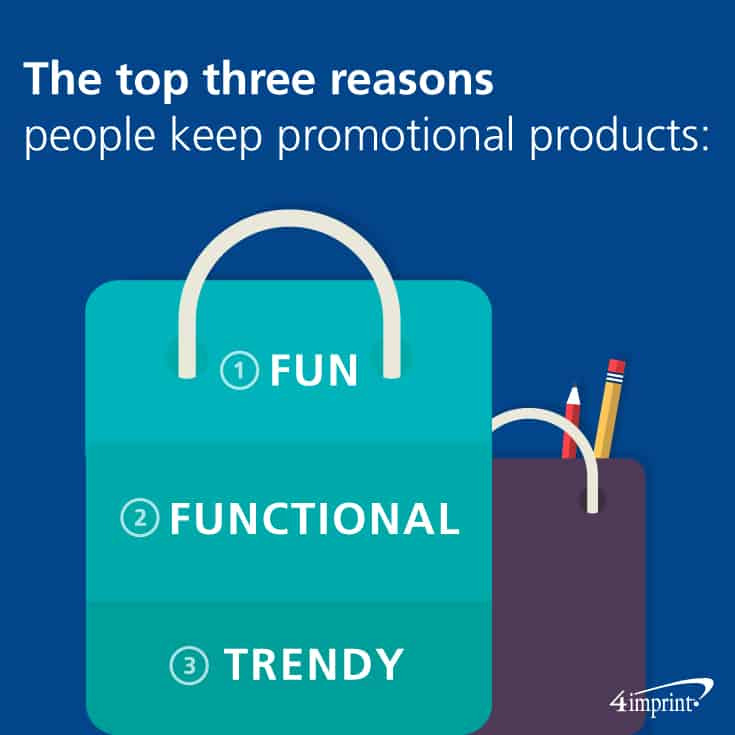 The top three reasons people keep promotional products: they're fun, functional, and trendy. Find branded tote bags at 4imprint.com