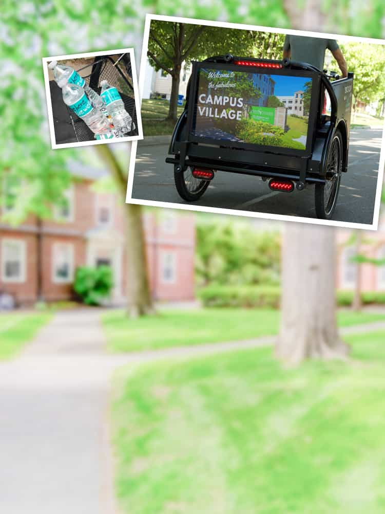 Picture of a pedi cab that offers advertising on cab and promotional giveaway items
