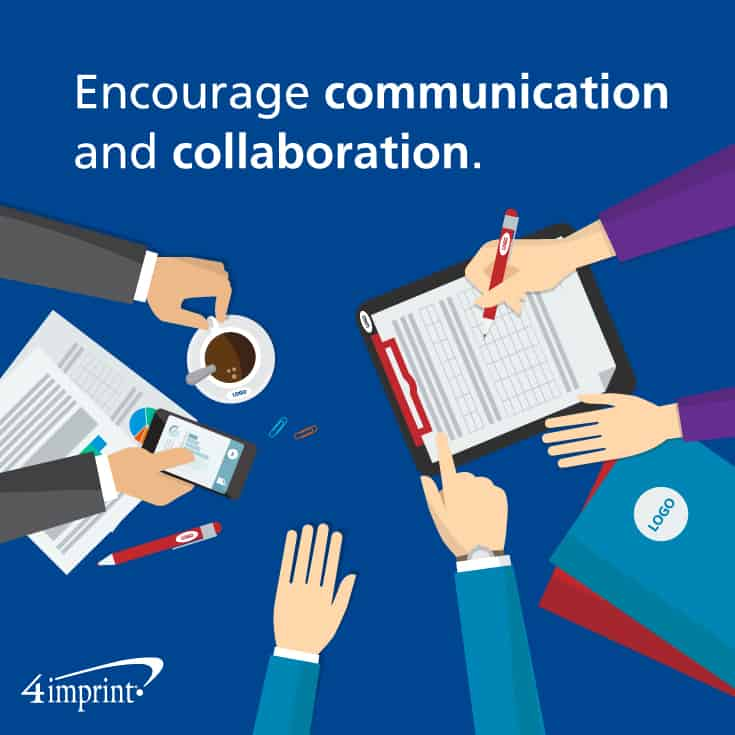 Meeting giveaways to encourage communication and collaboration