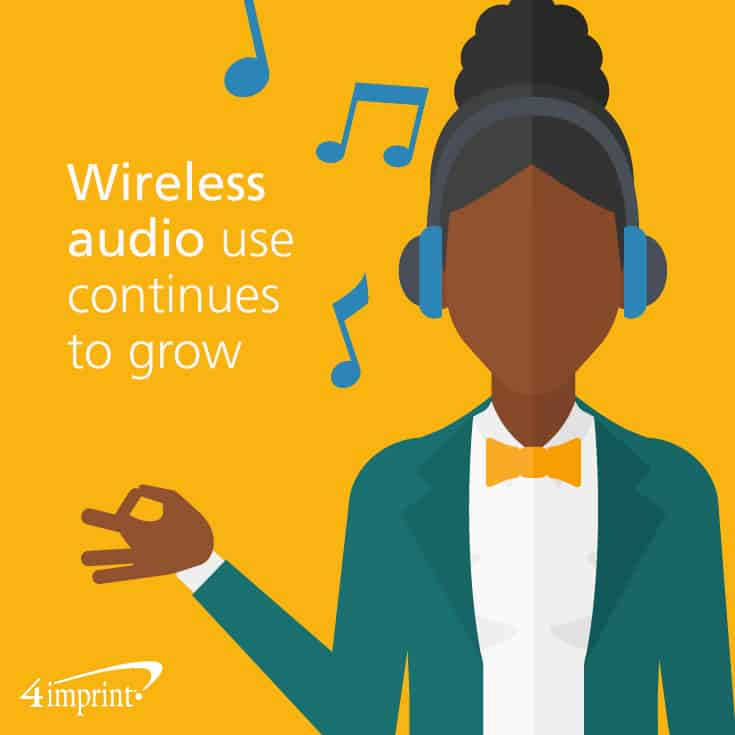 Wireless audio use continues to grow. Ideas for tech giveaways from 4imprint promotional products.